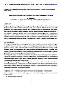 Implementing E-Learning in Teacher Education - ICT & Innovations in