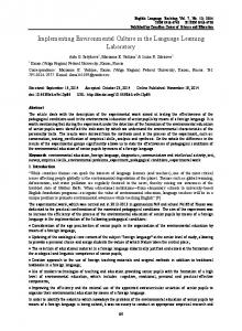 Implementing Environmental Culture in the Language Learning ... - Eric