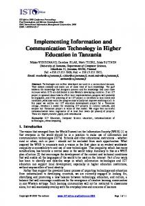 Implementing Information and Communication Technology in Higher ...