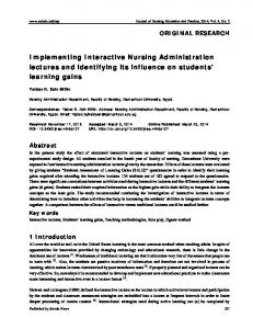 Implementing Interactive Nursing Administration ... - Sciedu Press