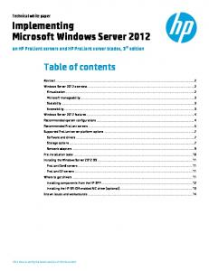 Implementing Microsoft Windows Server 2012 on HP ... - HP Azlan