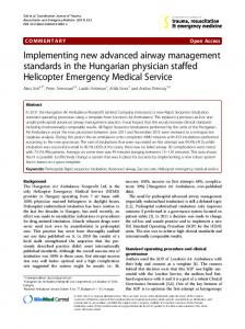 Implementing new advanced airway management standards in the ...