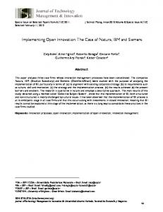 Implementing Open Innovation: The Case of Natura, IBM and ... - SciELO