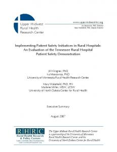 Implementing Patient Safety Initiatives in Rural Hospitals