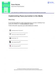 Implementing Peace Journalism in the Media
