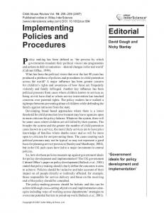 Implementing policies and procedures - Wiley Online Library