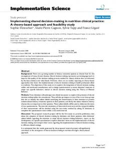 Implementing shared decision-making in nutrition clinical practice: A ...