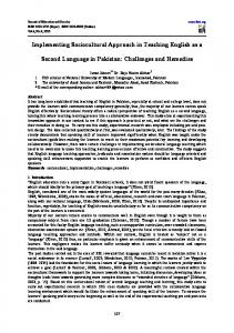 Implementing Sociocultural Approach in Teaching English ... - Iiste.org