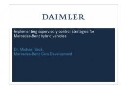 Implementing supervisory control strategies for Mercedes-Benz ...