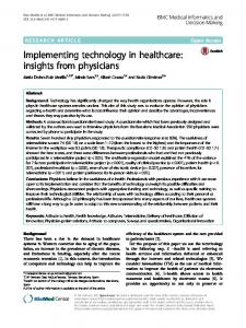 Implementing technology in healthcare: insights from physicians
