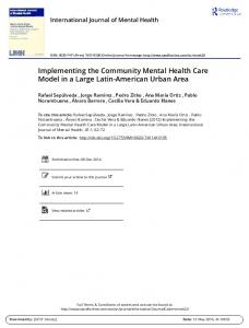 Implementing the Community Mental Health Care ...