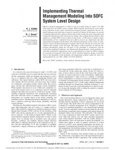 Implementing Thermal Management Modeling Into SOFC System ...