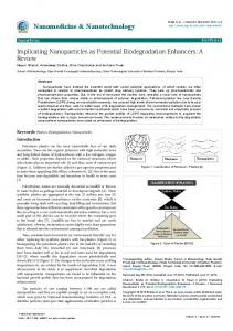 Implicating Nanoparticles as Potential Biodegradation ...