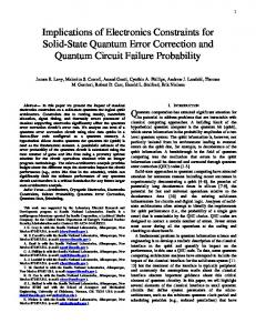 Implications of Electronics Constraints for Solid-State Quantum ... - arXiv