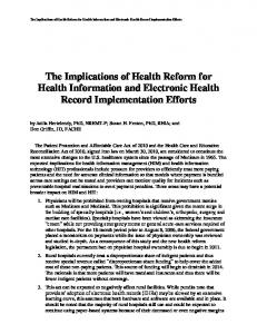 Implications of Health Reform for Health Information and Electronic ...