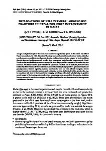 implications of hill farmers' agronomic practices in nepal for ... - cimmyt