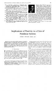 Implications of Passivity in a Class of Nonlinear Systems