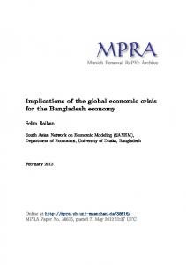 Implications of the global economic crisis for the Bangladesh economy