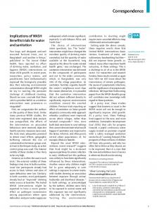 Implications of WASH Benefits trials for water and sanitation - The Lancet