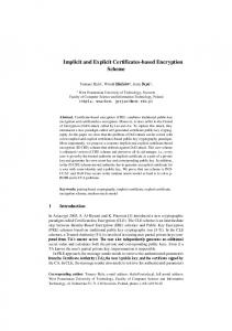 Implicit and Explicit Certificates-based Encryption Scheme