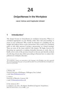 (Im)politeness in the Workplace