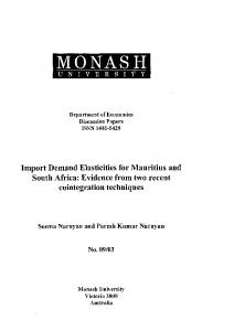 Import Demand Elasticities - National Library of Mauritius