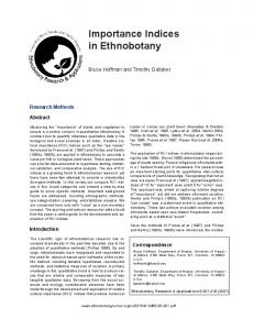 Importance Indices in Ethnobotany - Software @ SFU Library