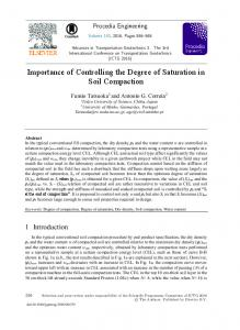 Importance of Controlling the Degree of Saturation in Soil Compaction