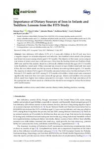 Importance of Dietary Sources of Iron in Infants and Toddlers: Lessons ...
