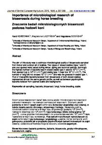 Importance of microbiological research of ... - Semantic Scholar