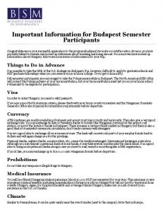 Important Information for Budapest Semester Participants - Budapest ...