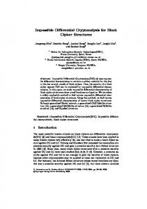 Impossible Differential Cryptanalysis for Block Cipher Structures