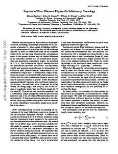 Imprints of Short Distance Physics On Inflationary Cosmology