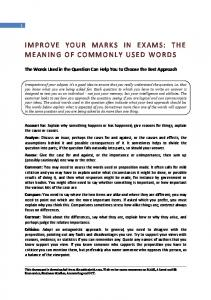 IMPROVE YOUR MARKS IN EXAMS: THE MEANING OF COMMONLY USED ...