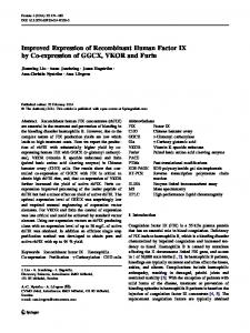 Improved Expression of Recombinant Human Factor IX ... - Springer Link