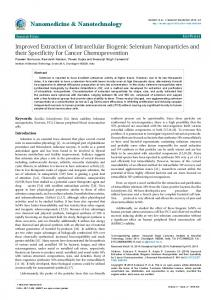 Improved Extraction of Intracellular Biogenic Selenium Nanoparticles ...