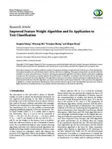 Improved Feature Weight Algorithm and Its Application to Text