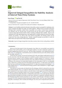 Improved Integral Inequalities for Stability Analysis of Interval ... - MDPI