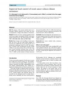 Improved local control of rectal cancer reduces ... - Wiley Online Library
