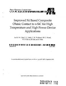 Improved Ni Based Composite Ohmic Contact to n-Sic for High ...