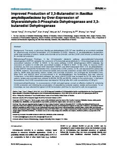 Improved Production of 2,3-Butanediol in Bacillus amyloliquefaciens