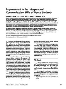 Improvement in the Interpersonal Communication Skills of ... - CiteSeerX