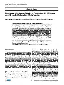 Improvement of Aripiprazole Solubility by Complexation with (2 ...
