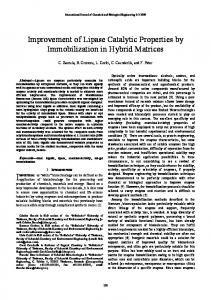 Improvement of Lipase Catalytic Properties by ...