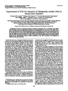 Improvement of PCR for Detection of ... - Journal of Clinical Microbiology
