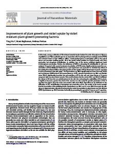 Improvement of plant growth and nickel uptake by ... - Semantic Scholar