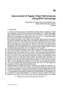 Improvement of Supply Chain Performances Using RFID Technology