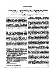 Improvements in Psychological Health Following a Residential Yoga ...