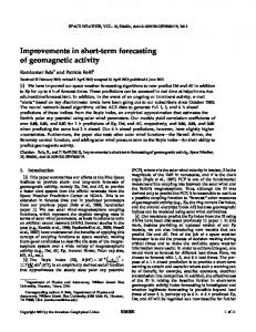 Improvements in shortterm forecasting of ... - Wiley Online Library