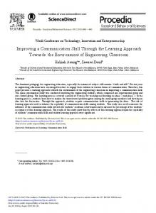 Improving a Communication Skill Through the ... - ScienceDirect